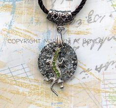 GECKO DRUZY PENDANT; black cord, ornate silver bail, green gecko, silver druzy disc, necklace, jewelry, for anyone, by OriginalSandMore on Etsy