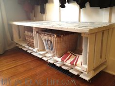 Easy DIY Numbered Pallet Bench by DIYinRealLife.com