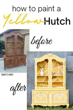 I found this hutch at a local auction and turned it into a true sunshine statement piece. I used shades of happy yellows, trimmed in white with a geometric shattered glass background. Click over to my blog at traceysfancy.com for the yellow chalk paint colors. I also link to a diy painting tutorial for how to paint antique furniture so you don't get a bleed-through of tannins. Do you ❤ this yellow furniture makeover? Please share + heart. It's one of my faves! #chalkpainted #furni