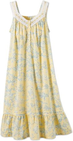 Ella Simone Floral Toile Cotton Lawn Nightgown - Yellow - S - Vermont Country Store Cotton Nighties, Cotton Dresses, Rose Gown, Nightgown Pattern, Rajputi Dress, Pencil Skirt Black, Pencil Skirts, Night Dress For Women, Nightgowns For Women