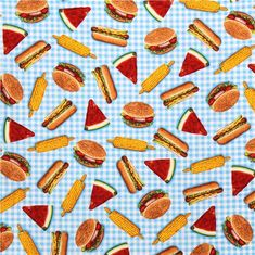 blue white hamburger hot dog corn fabric Kiss the Cook by Robert Kaufman 2