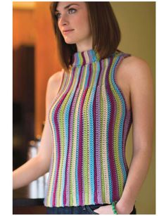 Sleeveless Turtleneck Sweater      ♪ ♪ ... #inspiration_crochet #diy GB