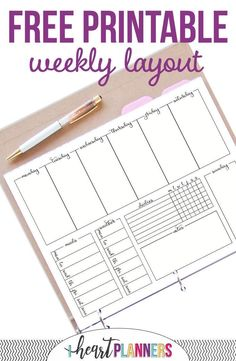Printable Weekly Calendar 2019 Free printable weekly layout love this weekly docket. Its in a bujo style and has spaces to for meal planning weather tracking daily habits and more. The post Printable Weekly Calendar 2019 appeared first on Paper ideas.