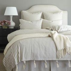 Ticking Stripe Duvet - Black | Ballard Designs camden headboard in matching ticking white euro shams