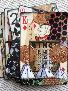 altered playing cards -