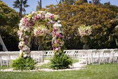 Pink | Green | Cream | Floral Arch | White Chairs | Wedding Ceremony  Photography: JLG Photography  Floral Design: tic-tock Couture Florals