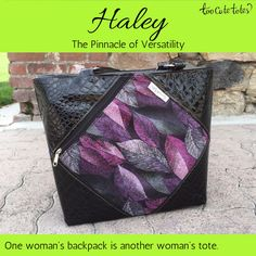 "Haley is a truly versatile tote from #TooCuteTotes, converting quickly from a #backpack to a dual strap #tote.  Haley measures 11"" x 10"" x 5"" and has plenty of room for anything that you may need, including binders or books. She comes standard with dual adjustable straps, a diagonal exterior zippered pocket, and a zipper closure. Haley's interior contains single side pockets (4) plus a zippered pocket on the opposite side.  Haley starts at $99."