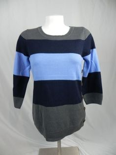 The-Limited-Blue-Striped-Button-Embellished-3-4-Sleeve-Sweater-Size-M-M1-5