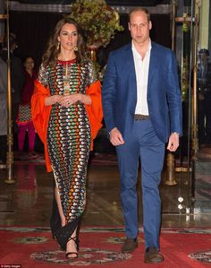 A Royal night out: Kate dazzles in a colourful Tory Burch dress
