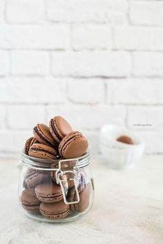 chocolate peach macarons