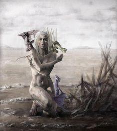 Game Of Thrones, Emilia Clarke, Daenerys, Naked With Baby Dragons. Arte Game Of Thrones, Game Of Thrones Fans, Game Of Thrones Characters, Daenerys Targaryen, Khaleesi, Emilia Clarke, Heros Film, The Mother Of Dragons, Game Of Thones