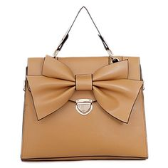 Emiko - Womens fashion #KhaKi #shoulderbags with front bow ornament decoration design
