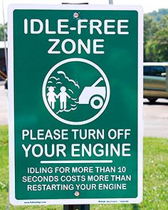 """Photo of a sign that says """"Idle Free Zone"""" at  Arnstein Jewish Preschool in Knoxville, TN. It was placed there as part of a school idle reduction plan that www.ETCleanFuels.org worked on. Photo credit - Kristy Keel-Blackmon. Domestic Cleaners, Turn Off, Climate Change, Photo Credit, Preschool, Engineering, Tech, Cleaning, Sign"""
