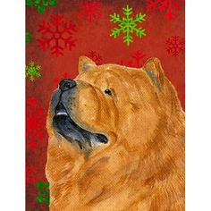 Caroline's Treasures Chow Chow Red and Green Snowflakes Holiday Christmas House Vertical Flag