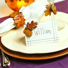Trim a Thanksgiving Table with Acorn & Leaves Tutorial  Place Card  Napkin Ring  Stemware Trim  Candleholder