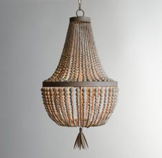 RH baby&child's Dauphine Wood Empire Chandelier:With its shapely grandeur, our aged-metal chandelier is adept at transforming an ordinary room into a fairytale setting. Two tiers of wood bead strands lend undeniable elegance.