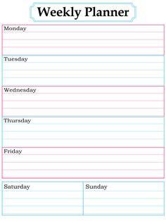 Weekly planner printable. Nice, simple, clean lines.