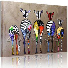 Andy Warhol Pop Art pintura al óleo lienzo pintado a Mano Cuadros Decoracion Cebra Animales Arte de La Pared Pictures For Living Room