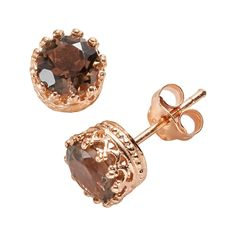 14k Rose Gold Over Silver Smoky Quartz Crown Stud Earrings, Women's, Brown