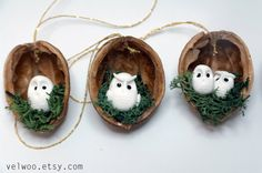 Owl woodland ornaments walnut shell ornaments Nature by Velwoo