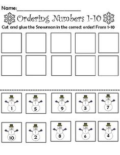 This worksheet is intended to help with number recognition and number ordering! can be turned into a file folder game and or used as a simple worksheet. simply have the students cut and past the snow man in order.