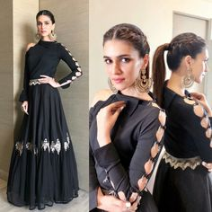 bollywood black embroidered partywear gown wear by kriti sanonFabric : Tapeta silk + Georget gown Length ( semi stich )bollywood black embroidered partywear gown - bollywood black embroidered partywear gown wear by kriti sanonFabric : Tapeta silk Indian Designer Outfits, Designer Gowns, Indian Attire, Indian Outfits, Stylish Dresses, Fashion Dresses, Sleeves Designs For Dresses, Indian Gowns Dresses, Kurti Designs Party Wear