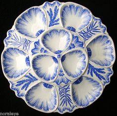Blue Oyster platter by Vieillard in Bordeaux. 19e century