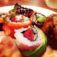 """A sushi assortment paired with @robertmondavips #sauvignonblanc #uptowndallaswinecrawl"" -- Photo by @feedmedallas"