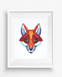 Fox Print,Polygonal Fox ,Geometric Fox  Art Wall Print, Low Poly,Geometric Animal Prints, Fox digital prints,Home decor,