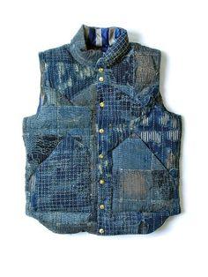Down Vest Boro Kapital Survival Clothing, Down Vest, Navy Jeans, Boro, Vest Jacket, Vintage Men, Indigo, Menswear, Textiles