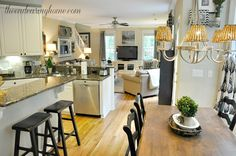 The Endearing Home — Restyle, Repurpose, Reorganize-Black and While Check Curtains Den / Black and White Print in Dining