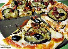 Pizza de berenjena asada y tomates secos