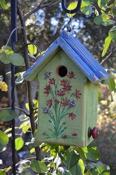 Birdhouse Hand Painted Flowers with Bees // by BirdhousesByMichele naturaluniquebirdhouses.com