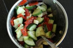Cucumber and Cheese Salad with Roasted Red Peppers