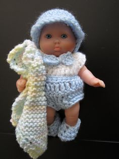 Crochet Outfit for 5 inch Berenguer baby doll Romper with Blanket