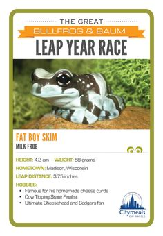 The contenders from yesterday's Great #LeapDay Frog Race!