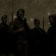 Rinat Voligamsi (Russian, b. Ursa Major, Oil on canvas, 100 x 100 cm. Ursa Major, Cult, Arte Horror, Nocturne, Dieselpunk, Aesthetic Art, Dark Art, Les Oeuvres, Art Inspo