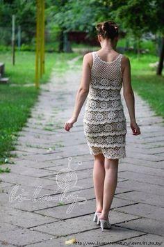 Платье вязаное ярусами крючком, схема фото #8