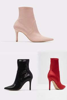 Perched on a mid-high heel, this stretch sock boot ads and attractive finish to any outfit.