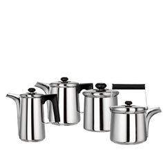 'Finlandia coffee and tea service'  Designers: Tapio Wirkkala, Sami Wirkkala   Design year: 1983   Manufacturer: Serafino Zani, Italy   Materials: stainless steel and plastic