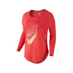 Nike Women's Signal Metallic Long-Sleeve Shirt, Red ($30) ❤ liked on Polyvore featuring red and nike