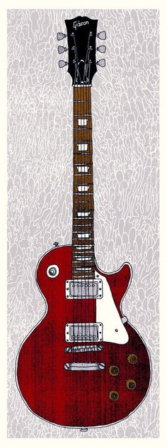 "Lucy by Nate Duval £22.50; George Harrison's famous '57 Les Paul, ""Lucy""; Entirely hand-drawn and hand-printed Four colour screen print including metallic layer  9"" x 24"" Signed edition of 160"