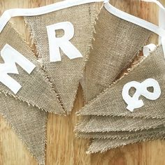 Hessian bunting Mr & Mrs wedding bunting Approx metres in length 10 hessian flags, white stitching to the outside of the flag Lettering sewn onto the hessian flags White bias binding each side for hanging Hessian Bunting, Felt Bunting, Wedding Bunting, Wedding Decorations, Reusable Tote Bags, Bride, Trending Outfits, Handmade Gifts, Etsy