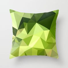 Electric Lime Green Abstract Low Polygon Background Throw Pillow. Low polygon style illustration of electric lime green abstract geometric background. #LowPolygon #ElectricLimeGreenAbstract