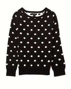 ¡Fiebre de puntos! El regreso de los polka dots al look otoñal Suéter negro de puntos, Forever21