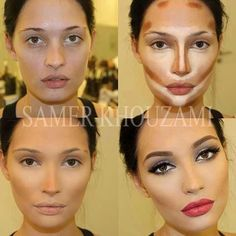 Contouring - weird yet very interesting...  Is this how you get super perfect barbie make up? I like the glow but I try and opt for minimal concealer to show love for my pores.