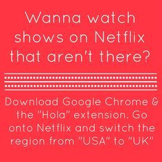 How to watch more shows on Netflix for FREE. You still have to pay for the regular Netflix, of course, but the additional shows are free. Netflix Codes, Netflix Free, Netflix Tv, Unlock Netflix, Netflix Users, Netflix Hacks, Shows On Netflix, Tv Hacks, Hacks Videos