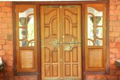 Wooden Front Door Design, Kerala Houses, Double Door Design, Modern Design, Entrance Doors, Front Door, Traditional House, Wooden Front Doors, Rustic Decor