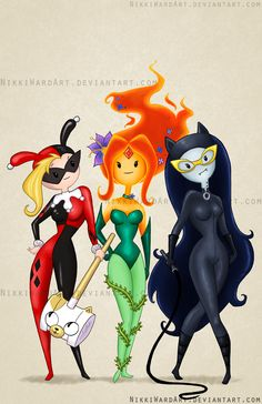 Gotham City Sirens made over Adventure Time style. Fiona as Harley Quinn, the Flame Princess as Poison Ivy, and Marceline as Catwoman Cartoon Adventure Time, Adventure Time Style, Adventure Time Crossover, Adventure Time Cosplay, Adventure Time Princesses, Adventure Time Girls, Marceline, Harley Quinn, Joker And Harley