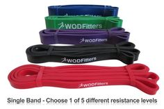 "WODFitters Stretch Resistance Pull Up Assist Band with eGuide #2 Black - 30 to 60 Pounds (3/4 "" 4.5mm)"